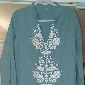 Beautiful embroidered long sheath dress